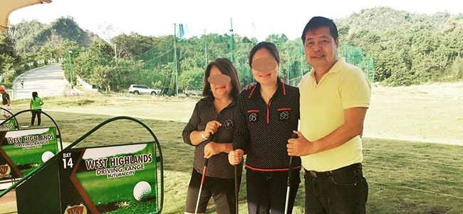 AMBUSH. Judge Hector Salise with wife and a friend at a gold course in Butuan in this photo posted on Facebook.