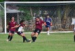 WOMEN'S FOOTBALL.  A Players scatters to retrieve the ball from the oposing team during the 13th Acosta Cup. Supplied Photo