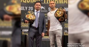 Pacquiao takes WBA super welterweight belt from Thurman